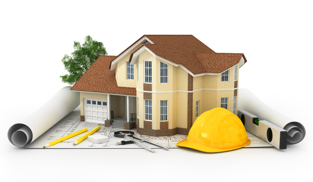 ۳D rendering of a house with garage on top of blueprints